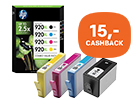 Tot 15,- cashback op HP inkt cartridges multi packs