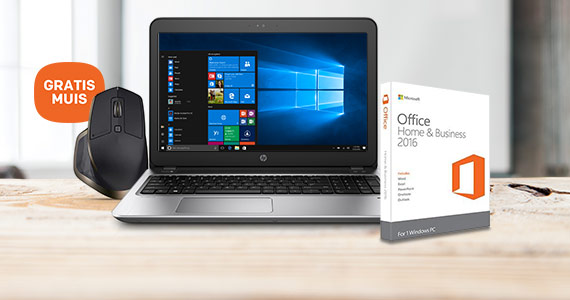 HP notebook & Microsoft Office + GRATIS muis t.w.v. 99,-