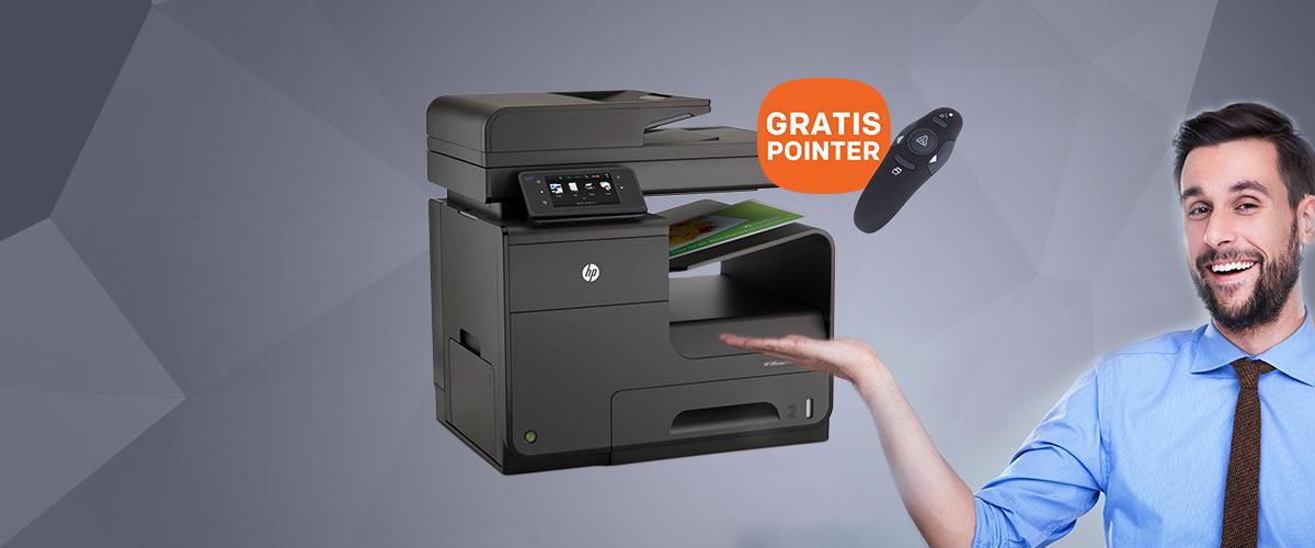 GRATIS draadloze presenter met laserpointer t.w.v. 21,95 bij HP printers