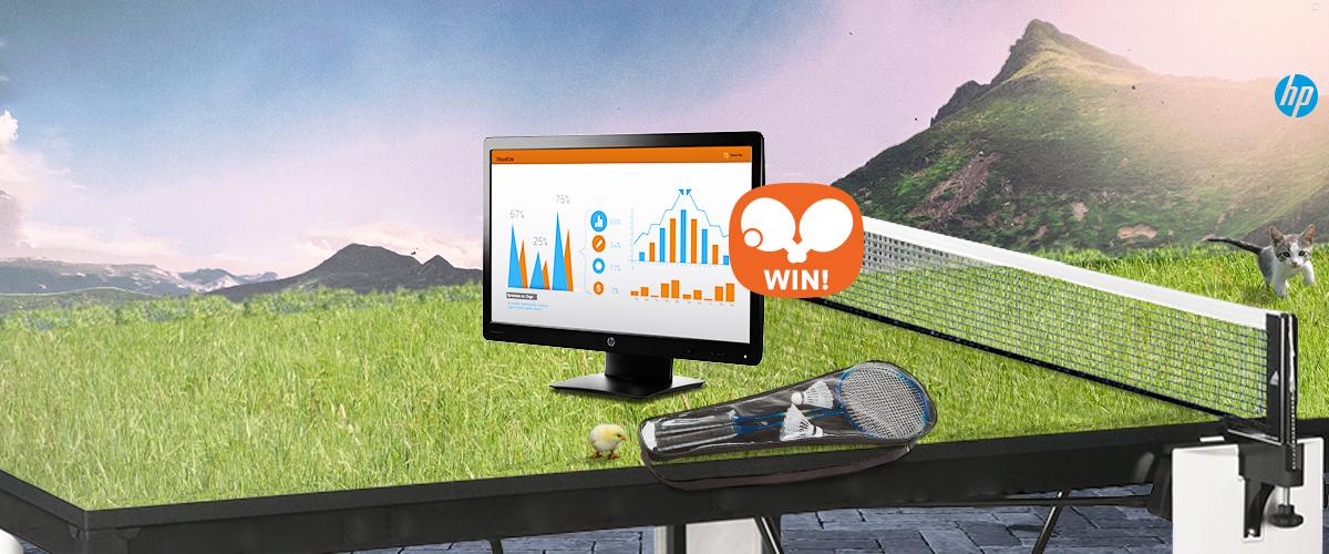 GRATIS badmintonset bij HP monitoren + WIN een pinpongtafel t.w.v. 299,-