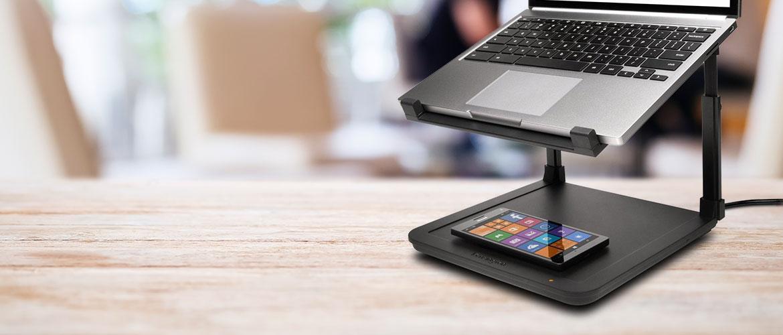 Kensington introduceert de laptop Riser met draadloze telefoon oplader Kensington