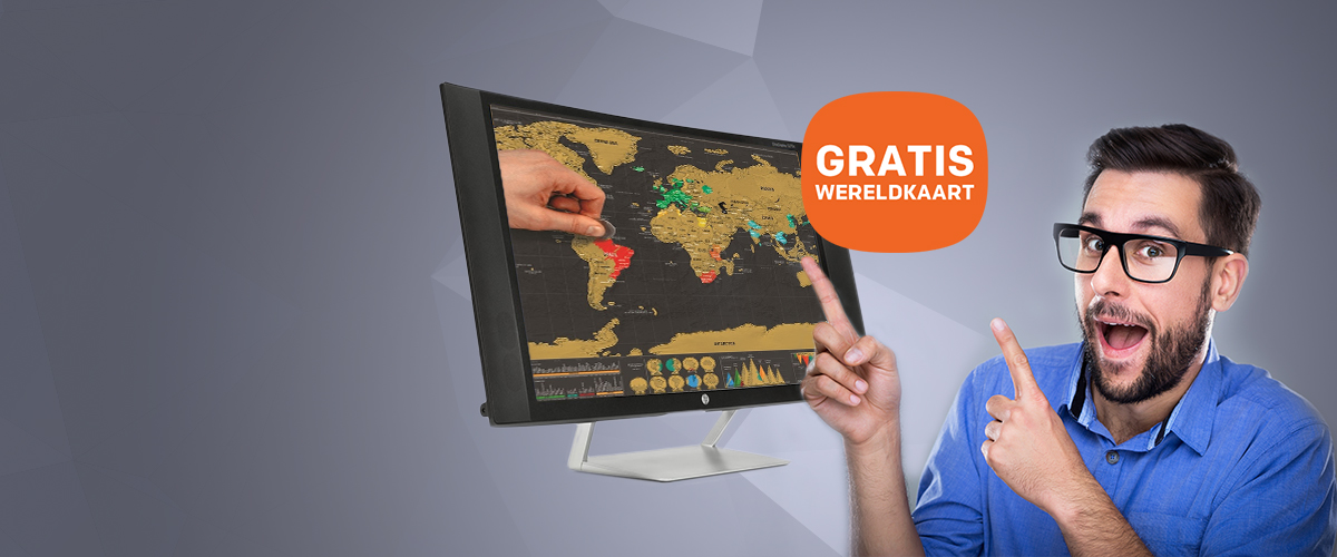 GRATIS wereldkaart voor aan de muur t.w.v. 19,95 bij HP monitoren