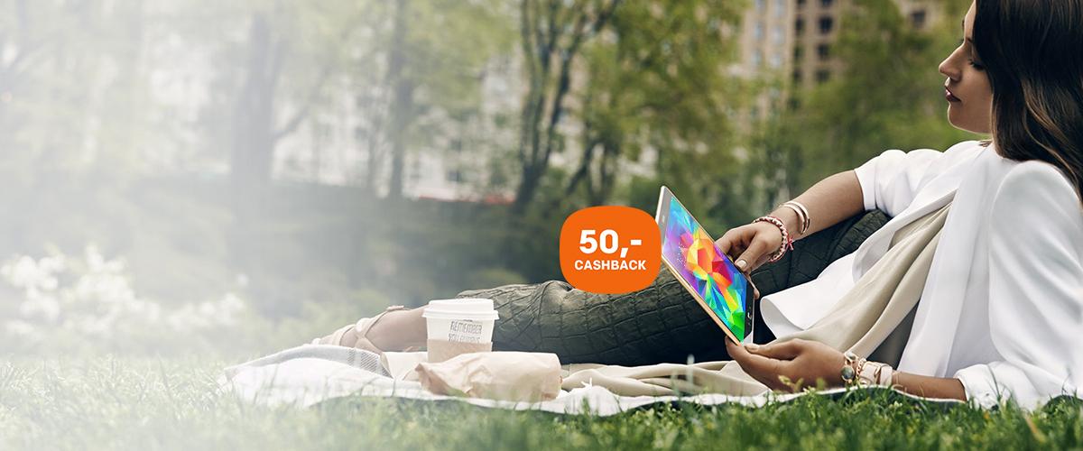 50,- retour op een Samsung Galaxy Tab S