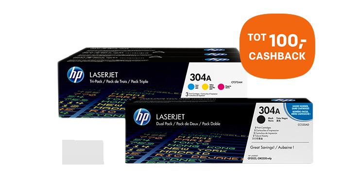 U ontvangt nu tot 100,- cashback op HP tonerpacks