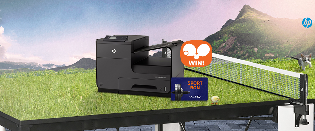 GRATIS sportcadeaukaart t.w.v. 20,- bij HP Officejet printer + WIN pingpongtafel
