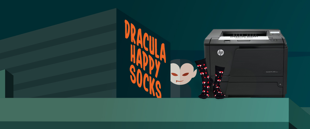 GRATIS griezelige Happy socks bij HP LaserJet printers