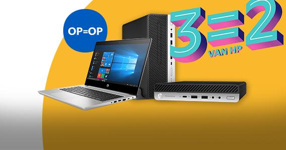 3=2 actie op HP laptops en pc's