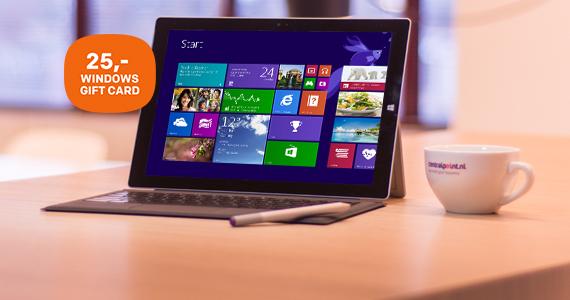 GRATIS 25,- Windows Gift Card bij Microsoft Surface Pro 3