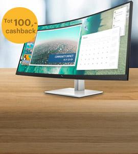 Tot 100,- cashback op HP monitoren