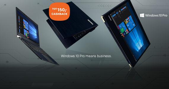 Tot 150,- cashback op Toshiba laptops