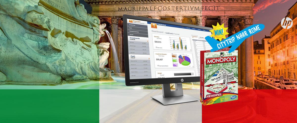 GRATIS Monopoly reiseditie bij HP monitoren + WIN citytrip naar Rome
