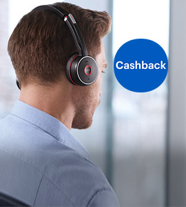 Tot 40,- cashback op Jabra headsets & speakers