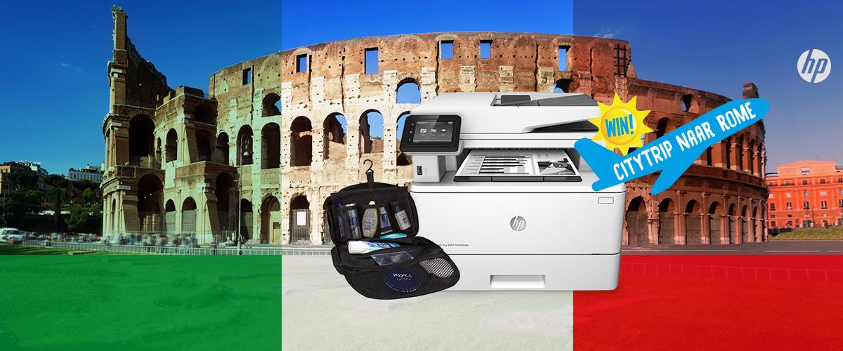 GRATIS luxe reis toilettas bij HP Laserprinters + WIN citytrip naar Rome