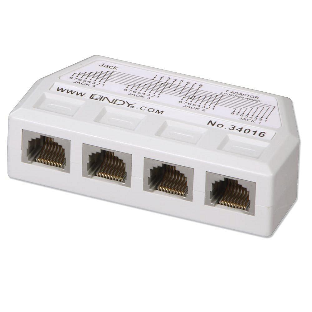 lindy netwerk splitter utp rj45 4 port y adapter 34016 kopen online bestellen geen. Black Bedroom Furniture Sets. Home Design Ideas