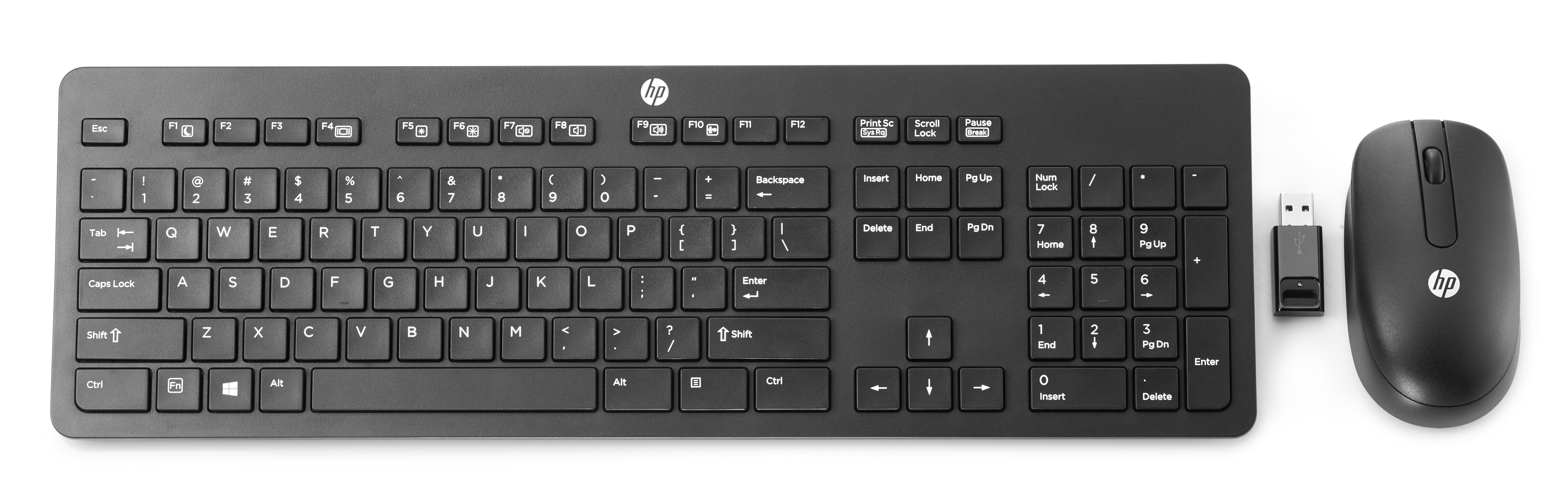 HP Slim Wireless Keyboard & Mouse QWERTY Toetsenbord Zwart