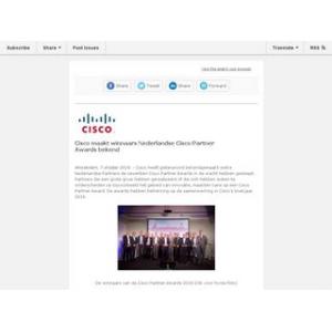 Persbericht:Cisco maakt winnaars Nederlandse Cisco Partner Awards bekend