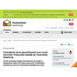 Centralpoint als 1e gecertificeerd voor zowel keurmerk Thuiswinkel Zakelijk...