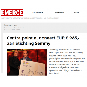 Centralpoint.nl doneert EUR 8.965,- aan Stichting Semmy - Emerce
