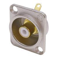 Neutrik Phono socket in nickel D-shape housing Kabel connector - Goud, Metallic, Wit