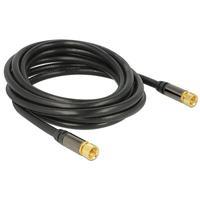 DeLOCK coax kabel: Antenna cable F Plug > F Plug RG-6/U 3 m black - Zwart
