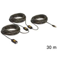 DeLOCK USB kabel: 30m, USB2.0 - USB2.0 - Zwart