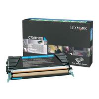 Lexmark cartridge: C736, X736, X738 10K cyaan retourpr. tonercartr.
