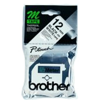 Brother labelprinter tape: Labelling Tape - 12mm, Black/White, Blister