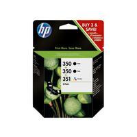 HP inktcartridge: 350/350/351 Inkjet Print Cartridges 3-Pack - Zwart, Cyaan, Magenta, Geel
