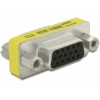 DeLOCK kabel adapter: Adapter Gender Changer VGA female-female - Geel