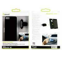 Muvit mobile phone case: Magnet Back Case + Car Holder Aimante For Apple Iphone 5s/se - Zwart
