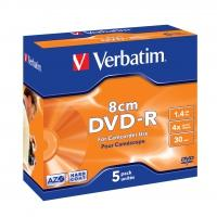 Verbatim 43510 DVD-R 8cm Matt Silver - 5 Stuks / Jewelcase