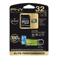 PNY flashgeheugen: 32GB MicroSD - Zwart, Wit