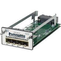 Cisco netwerkkaart: Four Gigabit Ethernet Port Network Module, spare - Zwart, Zilver, Wit