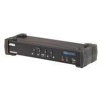 Aten KVM switch: KVM 4-Port USB DVI Dual Link KVMP Switch - Zwart