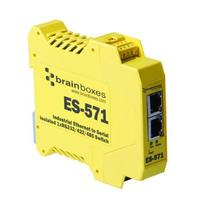 Brainboxes netwerkkaart: Isolated Industrial Ethernet to Serial 1xRS232/422/485 + Ethernet Switch - Geel