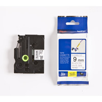 Brother labelprinter tape: TZe-FX221 - 9 mm zwart op blanc flexi ID tape gelamineerd (8 m)