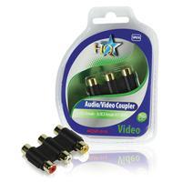HQ kabel adapter: 3x RCA - 3x RCA F/F - Zwart