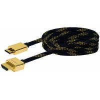 Schwaiger HDMI kabel: 1.5m HDMI - mini HDMI m/m - Zwart, Goud