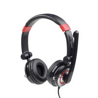 Gembird headset: 20-20000 Hz, 32 Ohm, 105 dB, 40 mm, USB 2.0, 2 m - Zwart, Rood