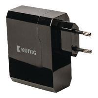 König oplader: Universele USB lader met dubbele poort, 2.4 A en 2.4 A - Zwart