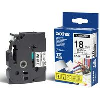 Brother labelprinter tape: P-Touch Tape Black on White 18 mm - Zwart