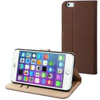 Muvit mobile phone case: Brown Wallet Folio Stand Case 3 Card Slots Apple Iphone 6 Plus - Bruin