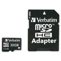 Verbatim, Micro SD Card 32GB c4 P-BLIST + Adaptor