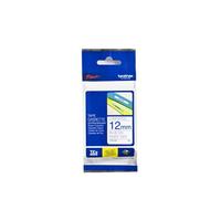 Brother labelprinter tape: 12 mm blauw op witte tape gelamineerd