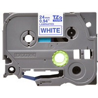 Brother labelprinter tape: 24 mm blauw op witte tape gelamineerd (8 m)