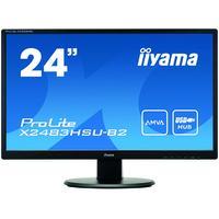 "Iiyama monitor: ProLite 60.96 cm (24 "") LED LCD 1920x1080, 250cd/m, 12mln:1, ACR, 4ms, VGA/HDMI/DVI - Zwart"
