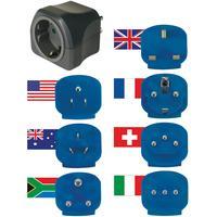 Brennenstuhl stekker-adapter: Wereld reisstekkerset geaard - Zwart