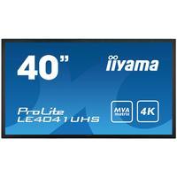 "Iiyama public display: 101.6 cm (40 "") 4K (3840 x 2160), 16:9, 350cd/m², 4ms, 12W, VESA - Zwart"