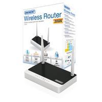 Eminent wireless router: 300 Mbps, 4 x RJ45 100 Mbps, 1 x WAN RJ45 100 Mbps, 210g - Zwart, Wit