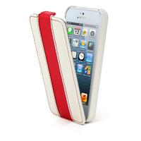 Canyon mobile phone case: iPhone 5 lederen hoes wit / rood - Rood, Wit
